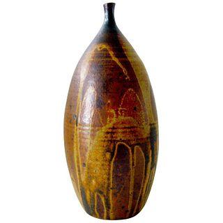 1970s Peters Abstract Modernist Glazed Stoneware Bottleneck Vase