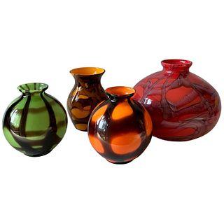 1920s Art Deco Czechoslovakian Bohemian Webbed Art Glass Ball Vase Collection