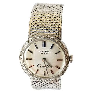 Cartier Universal Genéve 18 Karat White Gold Diamond Ladies Wristwatch