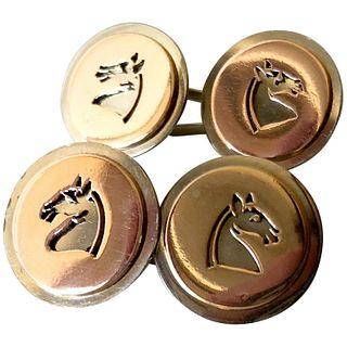 1960s Gold Chessman Knight Equine Silhouette Cufflinks