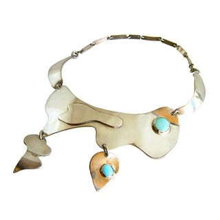 Sam Kramer Important Turquoise Sterling Silver American Modernist Necklace