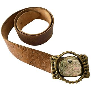 Pal Kepenyes Bronze Abalone Shell Belt Buckle on Hand Tooled Vintage Belt Strap