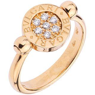 RING WITH DIAMONDS IN 18K YELLOW GOLD, BVLGARI, BVLGARI BVLGARI COLLECTION Brilliant cut diamonds Size: 5 ¾