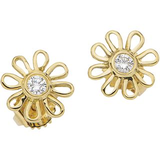 PAIR OF STUD EARRINGS WITH DIAMONDS IN 18K YELLOW GOLD, TIFFANY & CO., PALOMA PICASSO COLLECTION Weight: 1.6 g