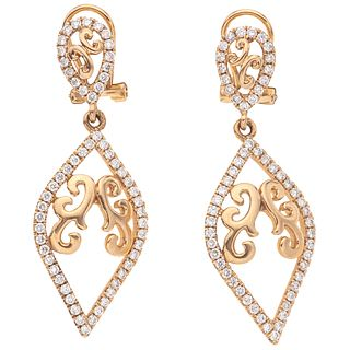 PAIR OF EARRINGS WITH DIAMONDS IN 18K PINK GOLD Brilliant cut diamonds ~1.14 ct. Weight: 8.7 g