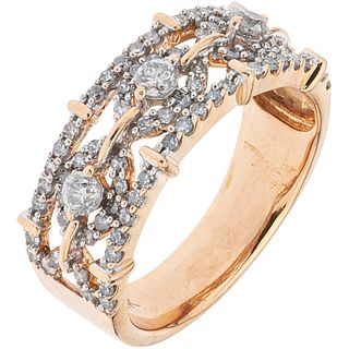 RING WITH DIAMONDS IN 14K PINK GOLD Brilliant and 8x8 cut diamonds ~0.95 ct. Weight: 5.0 g. Size: 7 ¼