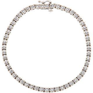 BRACELET WITH DIAMONDS IN 14K WHITE GOLD Brilliant cut diamonds ~0.75 ct. Weight: 14.1 g