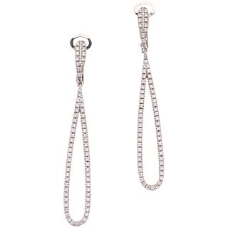 PAIR OF EARRINGS WITH DIAMONDS IN 18K WHITE GOLD Brilliant cut diamonds ~0.35 ct. Weight: 6.1 g