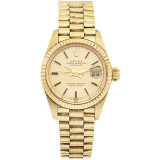 ROLEX OYSTER PERPETUAL DATEJUST LADY WATCH IN 18K YELLOW GOLD REF. 6917, CA. 1979-1982   Movement: automatic. Weight: 64.6 g