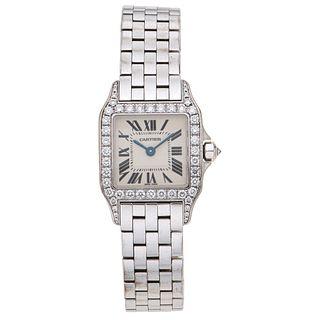 CARTIER SANTOS DEMOISELLE WATCH WITH DIAMONDS IN 18K WHITE GOLD REF. 2700  Movement: quartz Weight: 86.4 g