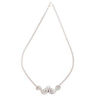 NECKLACE WITH DIAMONDS IN 18K WHITE GOLD AND PLATINUM 2 Brilliant cut diamonds~0.60ct Clarity:VS2-SI1, different cut diamonds