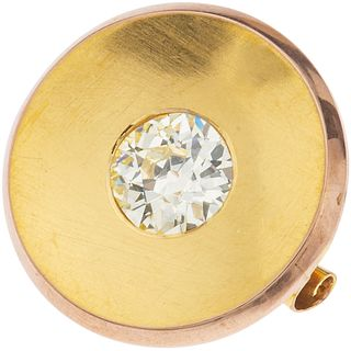 BROOCH WITH DIAMOND IN 10K YELLOW GOLD Antique cut diamond ~2.30 ct Clarity: SI1-SI2 Color: N-O