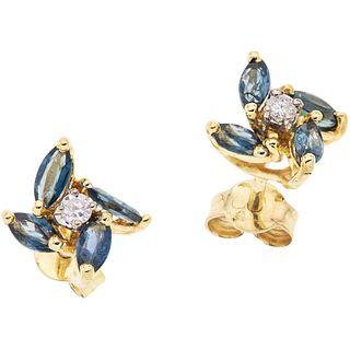 PAR DE BROQUELES CON TURMALINAS Y DIAMANTES EN ORO AMARILLO DE 14K   PAIR OF STUD EARRINGS WITH TOURMALINES AND DIAMONDSIN 14K YELLOW GOLD