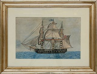 """American Watercolor """"Portrait of a Three-Masted Gunboat"""""""