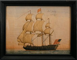 """American Watercolor and Ink on Paper """"Portrait of the U.S.R.C. South Carolina"""""""