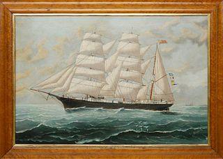 "Tom G. Purvis Oil on Canvas ""Portrait of the British Barque HMS William Gordon"""
