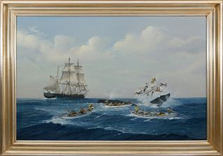 """Earl Collins Oil on Canvas """"Active Whaling Scene"""""""