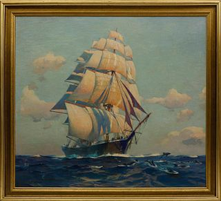 """Charles Robert Patterson Oil on Canvas """"In Company"""""""