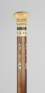 Sailor Made Inlaid Walking Stick, circa 1860