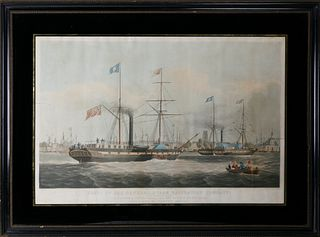 """W.J. Huggins Lithograph """"Ships of the General Steam Navigation Company"""""""