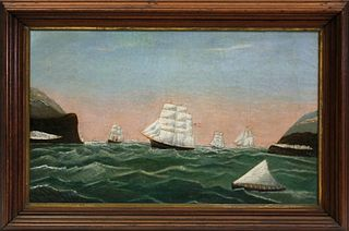 """American Primitive Maritime Oil on Canvas """"International Shipping in the Strait of Gibraltar"""""""