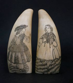 Pair of Antique Scrimshaw Whale Teeth, 2ndhalf of the 19thCentury