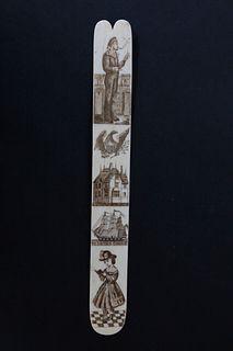 American Scrimshawed Antique Whalebone Busk, circa 1840-1860