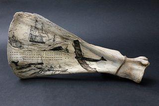 Antique Scrimshaw Bone Cribbage Board