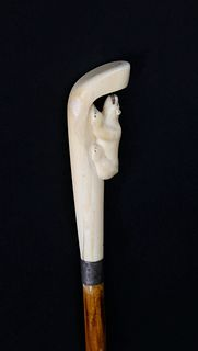 Inuit Carved Walrus Ivory Walking Stick, circa 1900