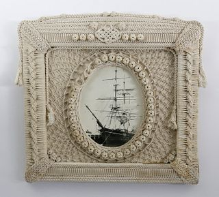 Sailor Crafted Macrame Picture Frame, circa 1880