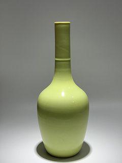 Qing Dynasty Yongzheng Period Made Mark, Lemon Yellow Glaze Long Neck Porcelain Vase
