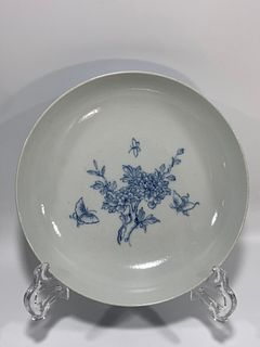 Qing Dynasty Qianlong Period Made Mark, Blue and White Flower Pattern Plate