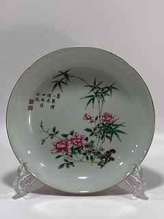 Qing Dynasty Yongzheng Period Made Mark, Enamel Flower Pattern Plate