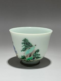 Qing Dynasty Kangxi Period Made Mark, Five Color Figure Pattern Cup