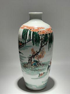 Mid Qing Dynasty, Five Color Figure Pattern Plum Porcelain Vase