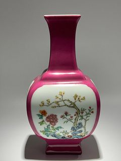 Qing Dynasty Qianlong Period Made Mark, Rouge Red Open Window Flower Square Porcelain Vase
