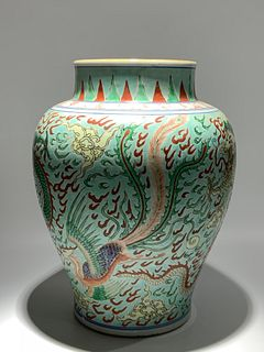 Mid Qing Dynasty, Five Color Dragon and Phoenix Pattern Porcelain Jar