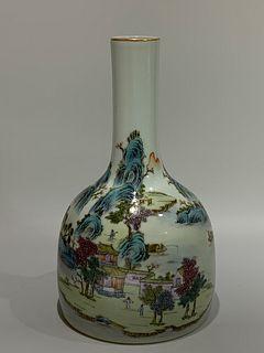 Qing Dynasty Qianlong Period Made Mark, Famille Rose Landscape Porcelain Vase