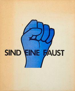 Wengoborski, Brigitte Fünf Finger sind eine Faust. Mit 18 ganzseitigen Farbillustrationen. Berlin, Basis, (1969). 19 Bll. 4°. Ill. OBroschur (etwas ge