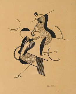 Fischer, Oskar Reitendes Paar. Um 1920. Lithographie auf Japan. 27 x 23 cm (50,5 x 39,5 cm). Signiert in Graphit sowie im Stein monogrammiert und beti
