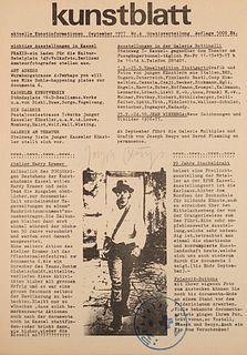 Kunstblatt. Aktuelle Kunstinformationen. Von Joseph Beuys signiert und gestempelt. (Kassel), September 1977. 4 Bll.