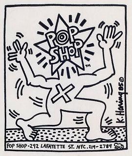 Haring, Keith Pop Shop Paper Bag. 1985. Bedruckte Papiertüte. 25,5 x 16 cm. Drucksigniert. Unter Glas gerahmt.