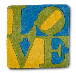 Indiana, Robert Teppich Spring-Love. 2006. In Handarbeit geknüpfte Wolle. Editiert von der galerie-f, Kranenburg. 40,5 x 40,5 cm.