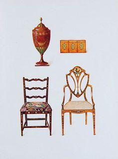 Macquoid, Percy A History of English Furniture. 4 Bände. Mit 60 Farbtafeln nach S. Slocombe und 935 Textabbildungen. London 1925-1928. Fol. OLwd. mit