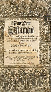 """""""(Das ist, alle Bücher Alts und News Testaments ... verteutscht ... durch J. Dietenberger.) Köln, J. Quentel, 1587. Mit 1 figürlichen Holzschnitt-Ti"""