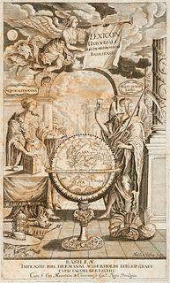 Hofmann, Johann Jacob Lexicon universale historico- geographico- chronologico- poetico- philologicum. 2 Bde. Mit 1 gestoch. Titel, 2 (wdh.) Holzschn.-