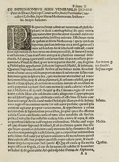 d'Ailly, Pierre Tractatus Petri de Eliaco episcopi Camerarensis: super libros Metheororum ... (Wien, Vietor, Singriener für Alantse, 9 Januar 1514). 2