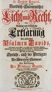 Lange, J. Davidisch-Salomonisches Licht und Recht, oder richtige und erbauliche Erklärung der geistreichen Psalmen Davids ... wie auch der lehrreichen