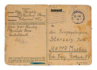 Sammlung von 18 Dokumenten mit Feldpost-Korrespondenz. 1946-1949. Gestempelte Feldpostkarten.