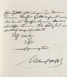 Albrecht, Prinz von Preußen Eigenhändiger Brief mit Unterschrift an den Appellationsgerichts-Rat Dr. Witte. Hannover, 30. Aug. 1876. 3 S. auf 1 Doppel